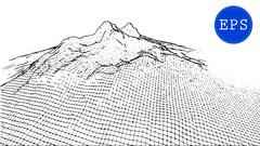 Abstract mountain cyberspace grid. Vector illustration Stock Illustration