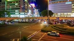4k timelapse traffic in night seen , Japan Stock Footage