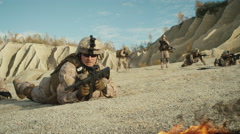 Squad of Fully Equipped and Armed Soldiers Crawling During Military Operation Stock Footage
