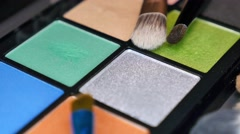 A make-up palette with some brushes on it, the shot is moving toward the palette Stock Footage