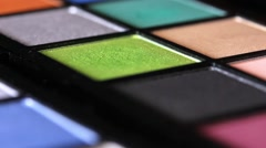 Close up footage of a make up palette, the shot is moving from the bottom Stock Footage