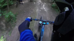 Mountain Bike extreme Cycling downhill freeride Stock Footage
