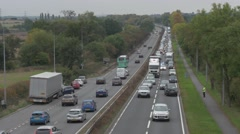 Police & emergency services respond to road traffic accident on dual carriageway Stock Footage