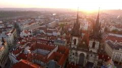 Aerial view of Prague cityscape, Czech Republic Stock Footage