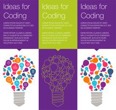 Vector banner with light bulb of idea Stock Illustration