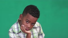 36 Children Portrait Sad Young Boy Depressed African American Child Stock Footage