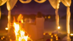 Bonfire on the beach with dining tent Stock Footage