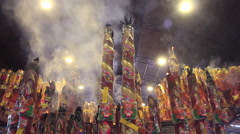 Giant incense sticks burning Stock Footage