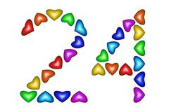 Number 24, twenty four of colorful hearts on white Stock Illustration