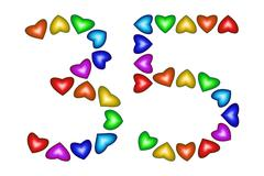 Number 35, thirty five of colorful hearts on white Stock Illustration