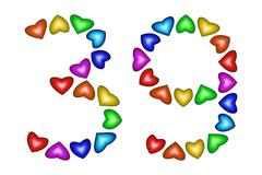 Number 39, thirty nine of colorful hearts on white Stock Illustration