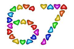 Number 67, sixty seven of colorful hearts on white Stock Illustration