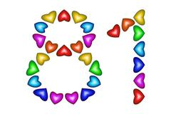 Number 81, eighty one of colorful hearts on white Stock Illustration