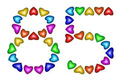 Number 85, eighty five of colorful hearts on white Stock Illustration