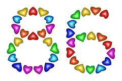 Number 86, eighty six of colorful hearts on white Stock Illustration