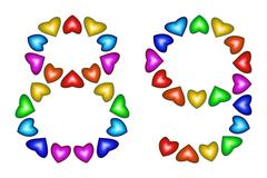Number 89, eighty nine of colorful hearts on white Stock Illustration