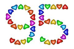 Number 95, ninety five of colorful hearts on white Stock Illustration