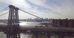 Pull Out Aerial of New York City Rush Hour Traffic on Williamsburg Bridge Stock Footage
