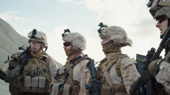 Group of Soldiers are Standing in a Circle and Listening Orders from Commander  Stock Footage