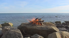 Fire on the beach Stock Footage