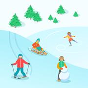 Kids play outdoor winter games vector background Piirros