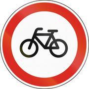 Road sign used in Hungary - No cycling Stock Illustration