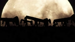 Oil Pumps on a Full Moon Background in a Polluted Environment in Zoom Out Stock Footage