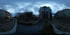 360Vr Video Man Between Old and Modern Buildings Cloudy Evening Opole City Stock Footage