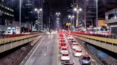 People hurry back home on Avenida Paulista. Sao Paulo, Brazil low view Stock Footage
