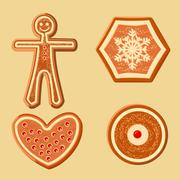 Set of different gingerbread figurines for Christmas decoration Stock Illustration