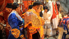 Chinese opera performers on back stage before performing. Stock Footage