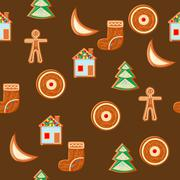 Seamless pattern of gingerbread figures on bright festive background Stock Illustration