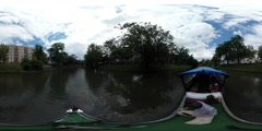 360Vr Video People at the Excursion by Boat Buildings on the Oder River Bank Stock Footage