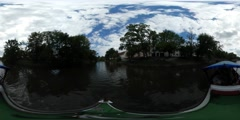 360Vr Video Leisure Boat With Passengers Floating by Oder Channel Residential Stock Footage