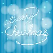 Lettering, hand lettering, merry Christmas blue winter holiday background Stock Illustration