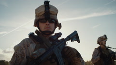 16 96 65 Portrait of fully equipped Soldier Stock Footage