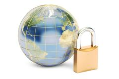 Earth with padlock, protect concept. 3D rendering isolated on white backgroun Stock Illustration