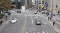 City intersection street - School bus - Toronto, Ontario, Canada Stock Footage