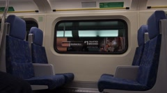 Inside of traveling train - Go Train - Seats - Advertisement Stock Footage