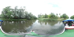 360Vr Video People Float Toward Bridge by Boat Oder River Bank Family Sitting Stock Footage