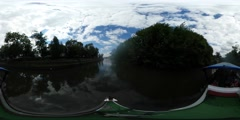 360Vr Video People Have an Excursion by Boat Oder River Bank in Cloudy Day Stock Footage