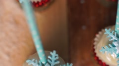 Winter cake decorated with a sugar snowflake Stock Footage