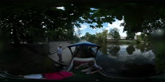360Vr Video Animation Day Opole Oder River People Are Taking a Leisure Boat Stock Footage