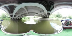 360Vr Video Boat is Floating From Under Bridge People Have Excursion by Boat Stock Footage