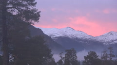 Colorful sunset over the mountains Stock Footage