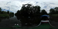 360Vr Video Cruise by Pleasure Boat Woodland Oder River Banks Sun Reflection in Stock Footage