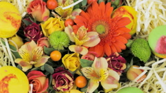 Orange festive bouquet Stock Footage
