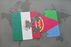 Puzzle with the national flag of mexico and eritrea on a world map background Stock Photos