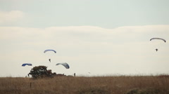 Several paragliders in the sky Stock Footage