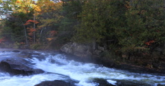 4K UltraHD An Algonquin river rapids with beautiful autumn colors Stock Footage